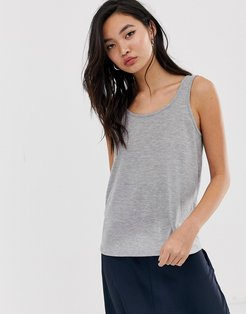 scoop back tank-Gray