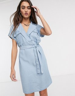 shirt dress with tie waist in chambray blue