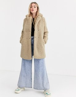 teddy coat in beige-Cream
