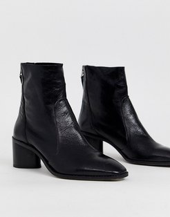 Achillies inlined leather kitten heel ankle boot-Black