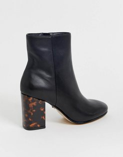 Aima mid heeled ankle boots with tortoise print contrast heel in black