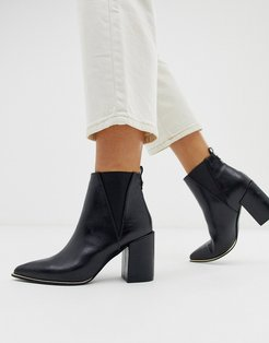 amazing pointed black heel ankle boot in black