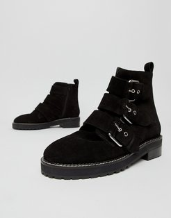 Artillery chunky black suede three buckle boots