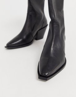 Ashen black leather mid heeled ankle boots