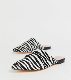 Faith exclusive zebra printed leather slip on mules-Multi
