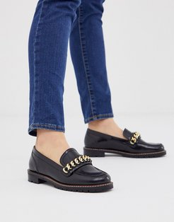 Fanella chunky flat loafer with chain detail-Black
