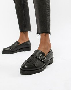 Fisher chunky black leather fringed buckle loafers