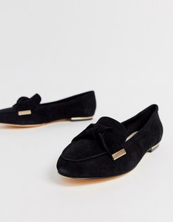 Flannery black suede bow buckle flat loafers