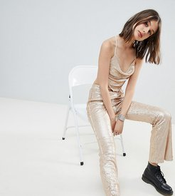 flares in sequin two-piece-Gold