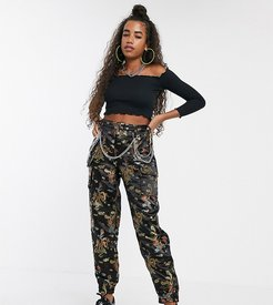 relaxed cargo pants with chain in dragon jacquard-Black