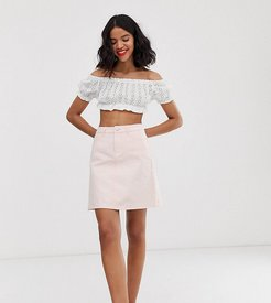 denim mini skirt in washed pink
