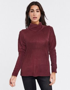 Jessie roll neck sweater in burgundy-Red
