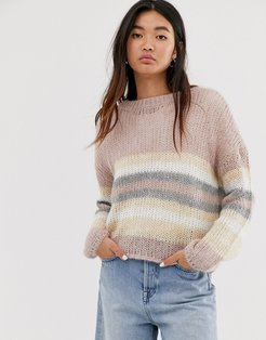 knitted sweater in pink stripe