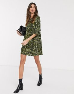 Mary 3/4 sleeve printed smock dress-Black