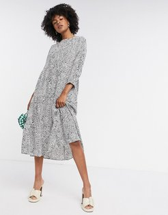 midi smock dress in mono polka dot-Multi