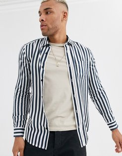 shirt with vertical stripe in navy