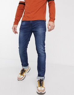 slim fit whiskered sweat jeans in blue