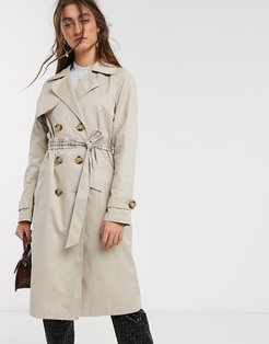 trench coat with check lining in beige-Tan
