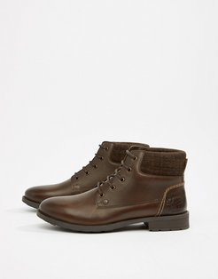 Leather Lace Up Boots in Brown