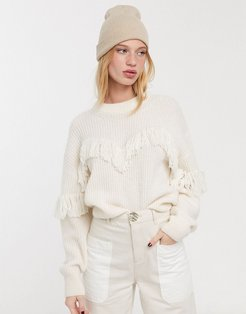 & Other Stories alpaca blend fringe detail sweater in off white-Black