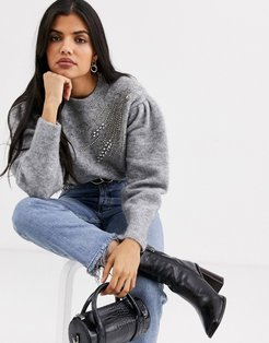 & Other Stories embellished puff sleeve sweater in gray