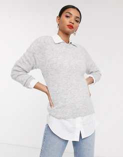 & Other Stories fluffy round neck sweater in gray marl