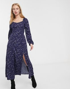 & Other Stories maxi dress with split detail in multi blue floral print