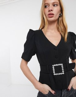 & Other Stories rhinestone buckle short sleeve blouse in black