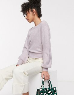 & Other Stories round neck balloon sleeve sweater in lilac-Purple