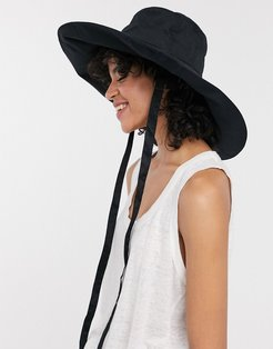 & Other Stories wide brim bucket hat with ties in black