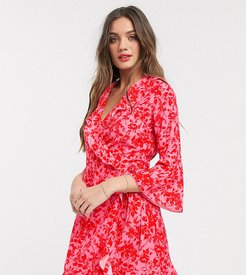 ruffle wrap dress with fluted sleeve in red floral print-Multi