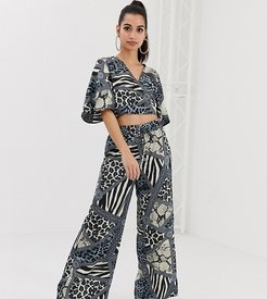wide leg pants two-piece in multi chain print