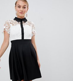 2 in 1 crochet lace top skater dress with contrast collat detail in monochrome-Multi