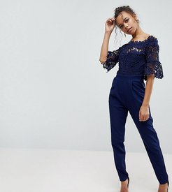 Bardot Cutwork Lace Tailored Jumpsuit-Navy