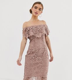 bardot lace pencil dress in taupe-Brown