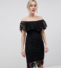 bardot lace pencil dress with frill detail in black