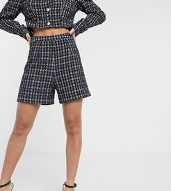 boucle A-line short two-piece-Navy