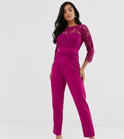 cutwork lace tailored jumpsuit in raspberry-Pink