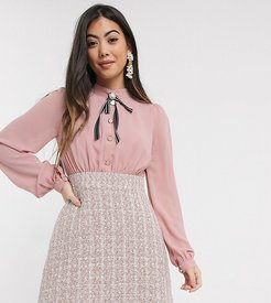 two in one boucle dress in pink