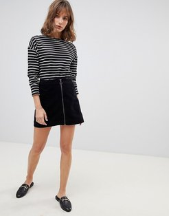 Mini Skirt In Velvet-Black