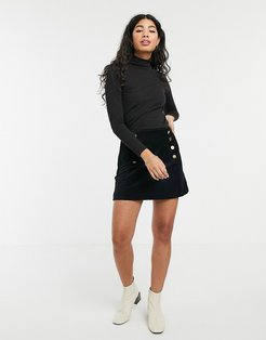 velvet mini skirt-Black