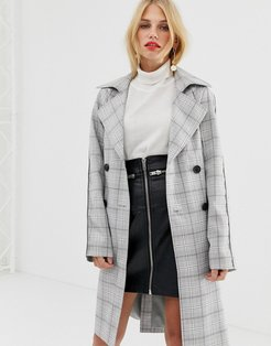 check double breasted trench coat-Multi