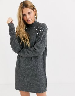 longline knitted sweater with pearl embelishment-Gray