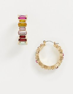 small hoop earrings with rainbow stones in gold