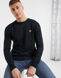 small logo sweater with tipped shoulders in black