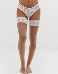 bridal lace top hold up in beige