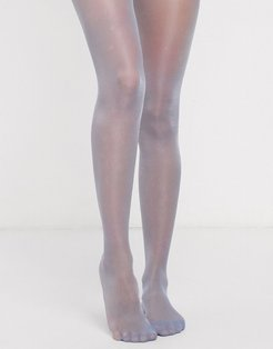 high shine sheer tights in blue