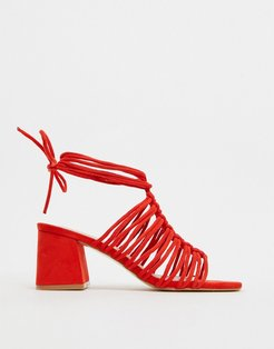 Bali ankle tie block heel sandal in red