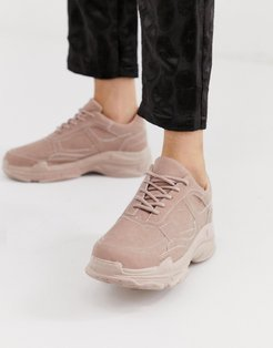 Blend pink color drenched chunky sneakers