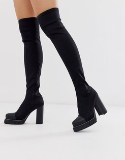 Critic chunky platform over the knee boots in black